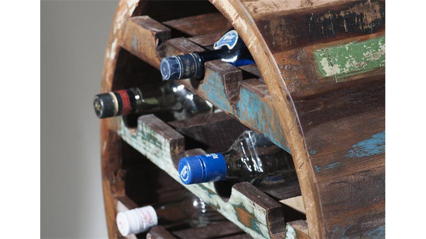 Weinregal RIVERBOAT echtes Altholz für 14 Flaschen
