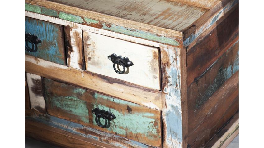Couchtischtruhe RIVERBOAT echtes Altholz 5 Schubkästen