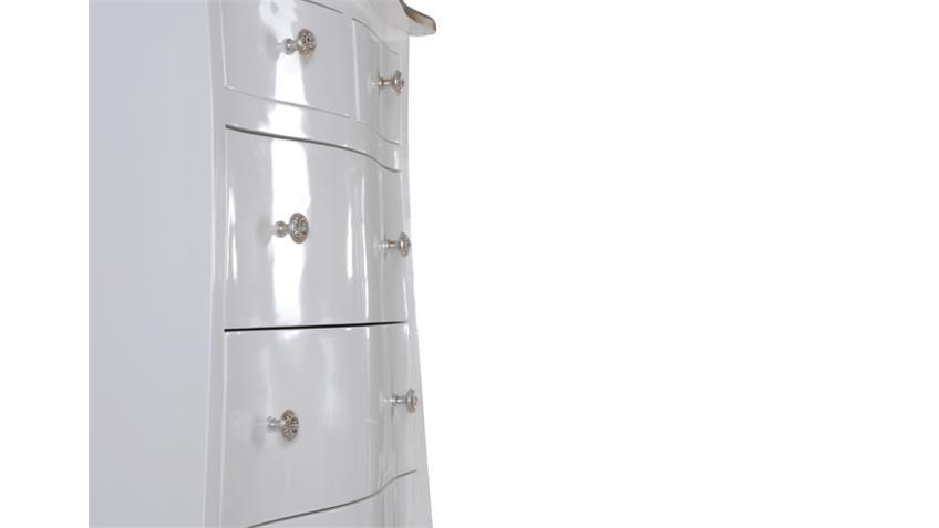 Kommode POMP Mahagoni MDF weiß silber 70 cm breit