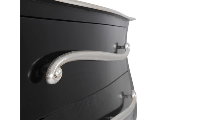 Kommode POMP Mahagoni MDF schwarz silber 120 cm breit