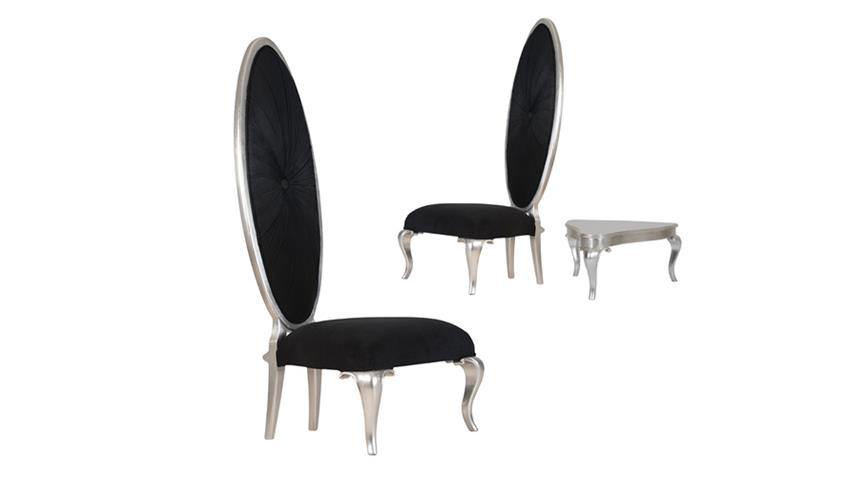 Show-Chair POMP Mahagoni MDF gepolstert schwarz silber