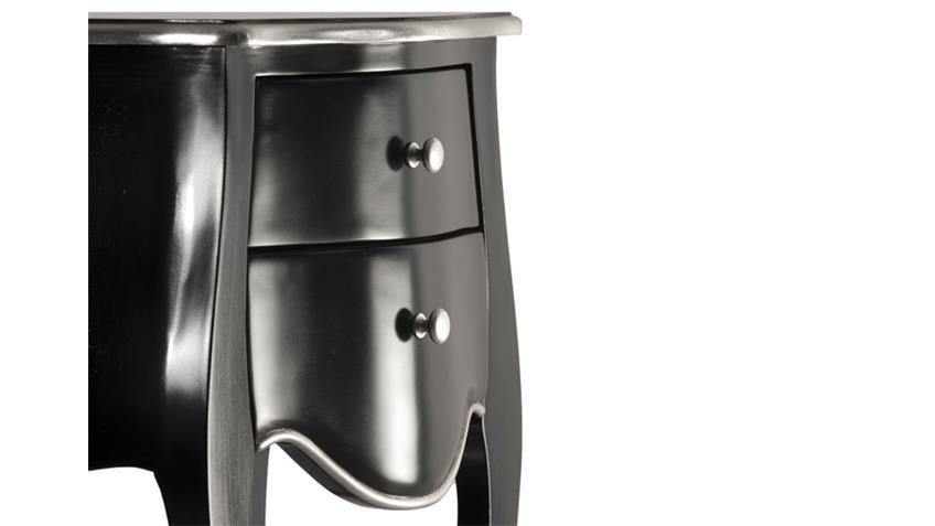Kommode POMP Mahagoni MDF schwarz silber 45 cm breit