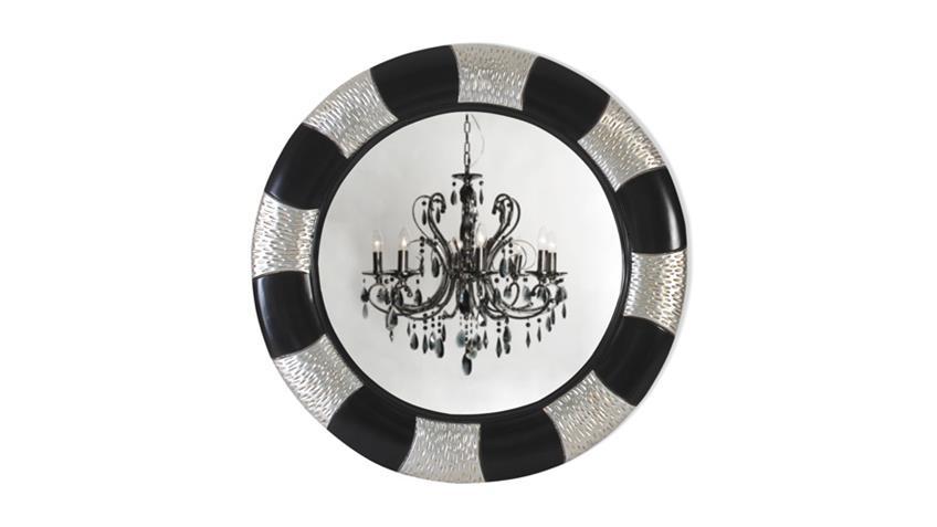 Spiegel POMP Mahagoni MDF schwarz silber 90 x 90 cm