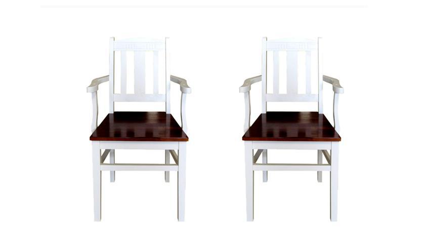 Stuhl mit Armlehnen SIENA 2er Set Landhaus Akazie antikweiß