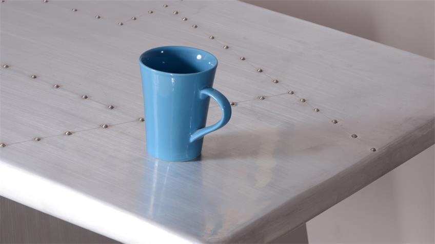 Schreibtisch DOWNTOWN Mango MDF Alu beschlagen Metallbeine