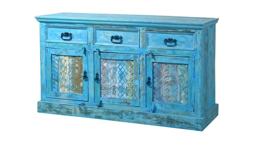 Sideboard BLUE aus Echt Altholz lackiert in blue washed