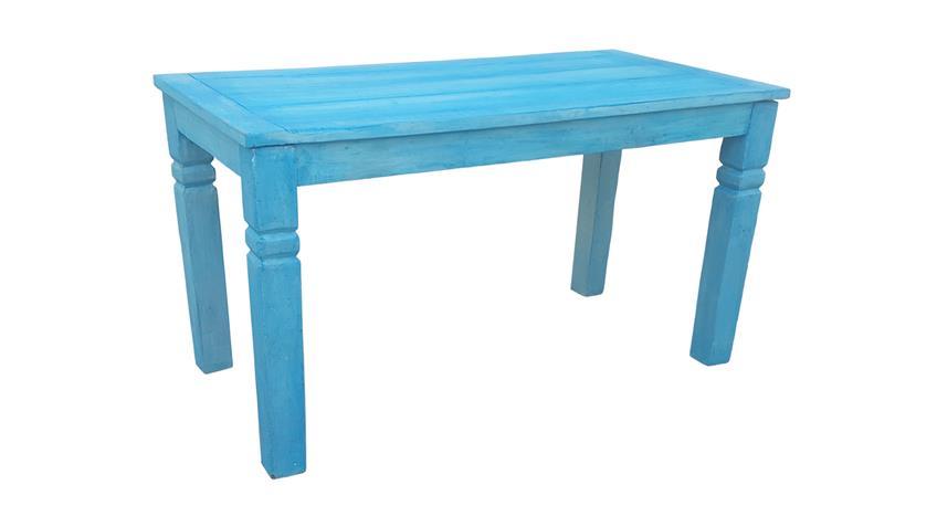 Esstisch BLUE aus Echt Altholz lackiert in blue washed