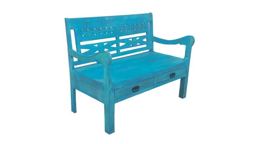 Bank Sitzbank BLUE aus Echt Altholz lackiert in blue washed