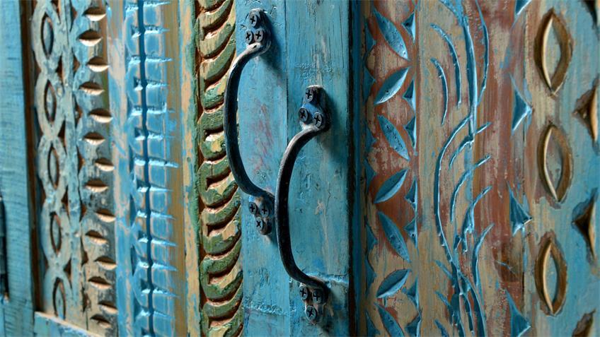 Kleiderschrank BLUE aus Echt Altholz lackiert in blue washed