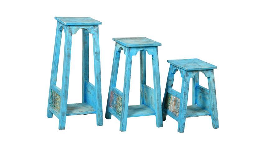 Blumenhocker groß BLUE Echt Altholz lackiert blue washed