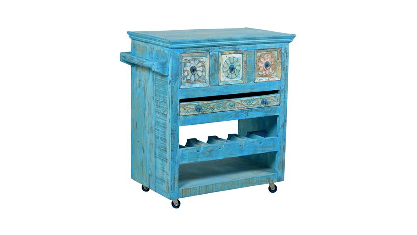 Küchenwagen BLUE Echt Altholz lackiert blue washed