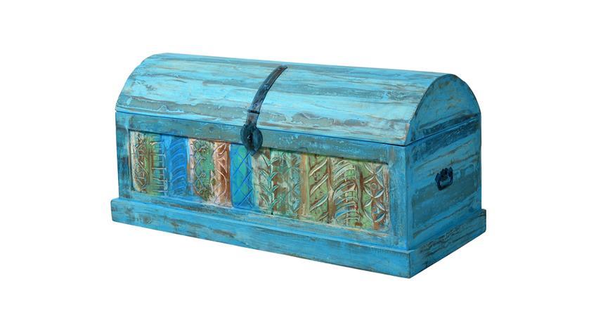 Truhe BLUE Echt Altholz lackiert blue washed