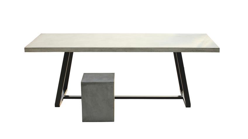 Esstisch Cement aus Leichtbeton und Metall 220x100 cm