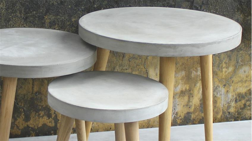 3 Satz Tisch Cement aus Leichtbeton und Eiche
