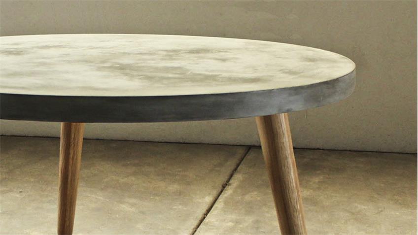 Couchtisch 82x82 cm Cement aus Leichtbeton und Eiche