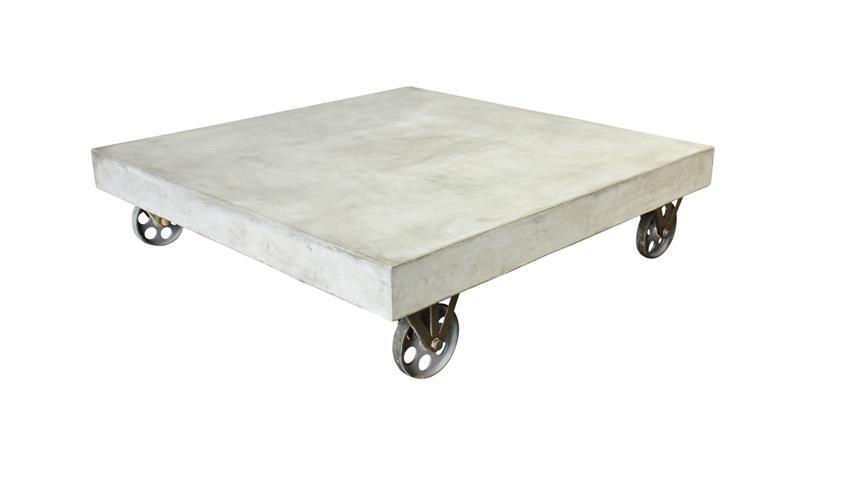 Couchtisch 80x80 cm Cement aus Leichtbeton auf Rollen