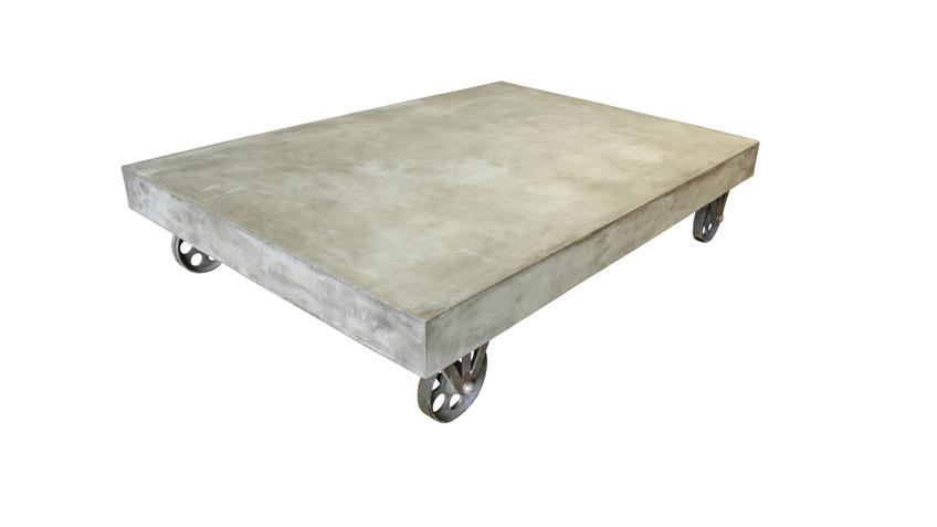 Couchtisch 130x90 cm Cement aus Leichtbeton auf Rollen
