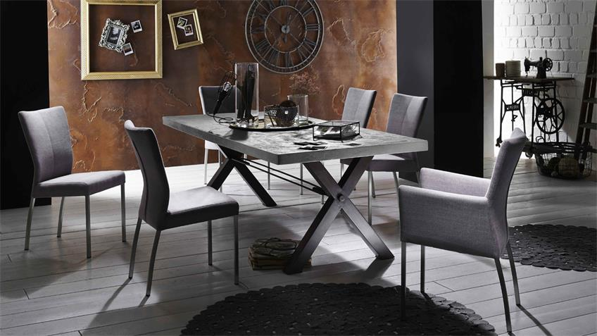 Esstisch Tops & Tables Roheisengestell 2 Mango MDF Zement