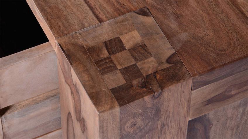Lowboard Thor schmal aus Sheesham-Holz massiv