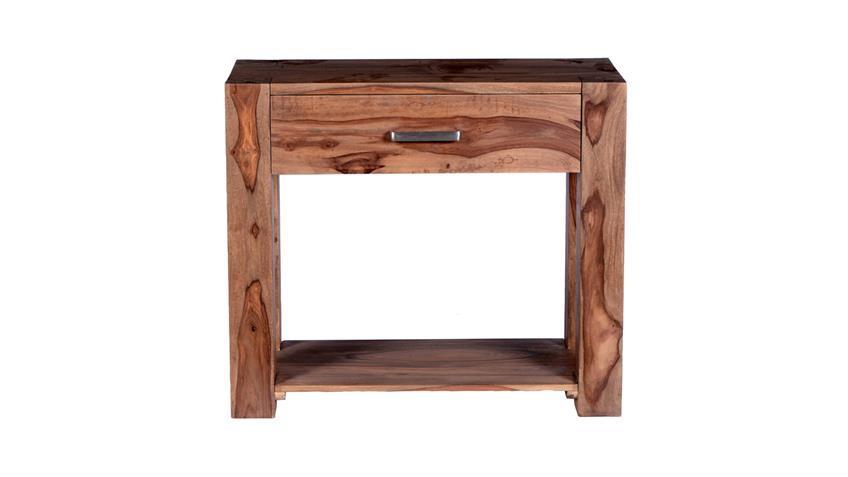 Telefontisch Thor aus Sheesham-Holz massiv mit 1 Schubkasten