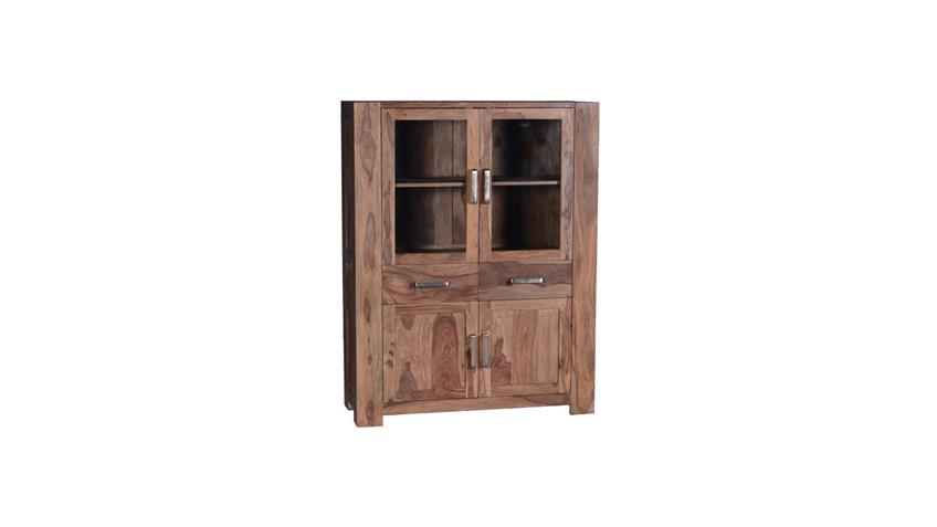 Esszimmer Set Thor aus Sheesham-Holz massiv mit Highboard