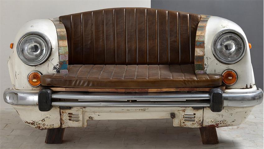 Sofa Autofront Metalll und bunt lackiertes Altholz Breite 172 cm