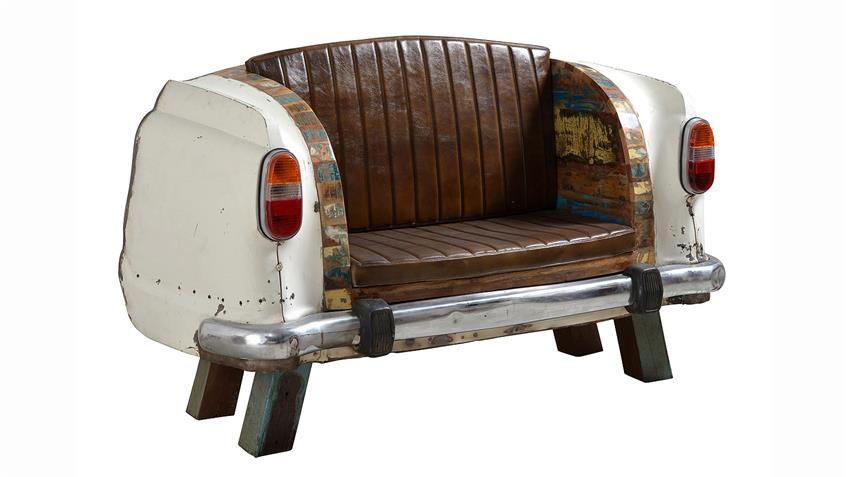 Sofa Autoheck Metalll und bunt lackiertes Altholz Breite 172 cm