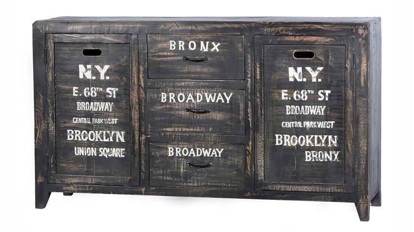 Sideboard BRONX von SIT Mangoholz antikschwarz lackiert