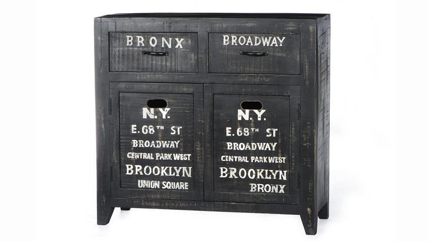 Sideboard BRONX von SIT Mangoholz antikschwarz lackiert B 90 cm