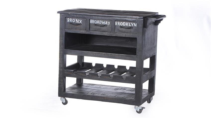 Küchenwagen BRONX von SIT Mangoholz antikschwarz lackiert