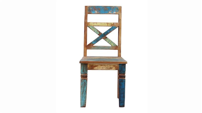 Stuhl RIVERBOAT Esszimmerstuhl aus Altholz in bunt lackiert