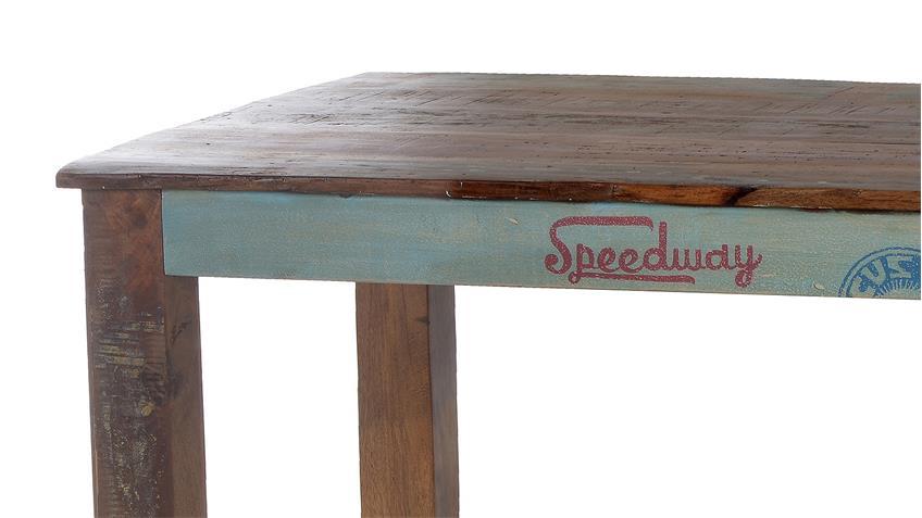 Esstisch Altholz Bunt ~ Esstisch SPEEDWAY recyceltes Altholz bunt lackiert 140 cm