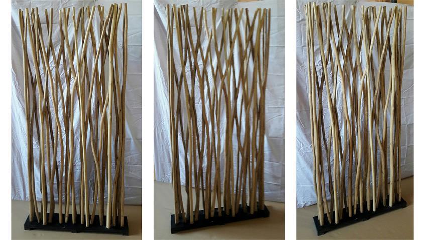 Paravent ROMANTEAKA recyceltes Altholz natur und schwarz
