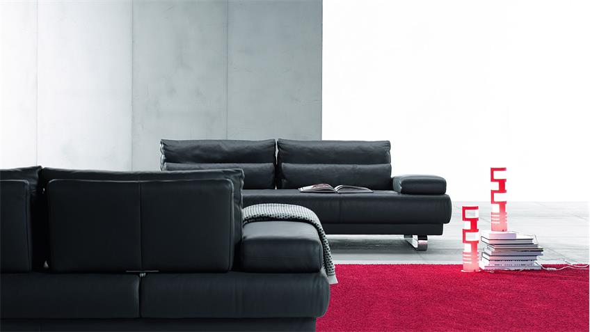 Sofa HARRY 3-Sitzer Leder schwarz 230 cm Ewald Schillig