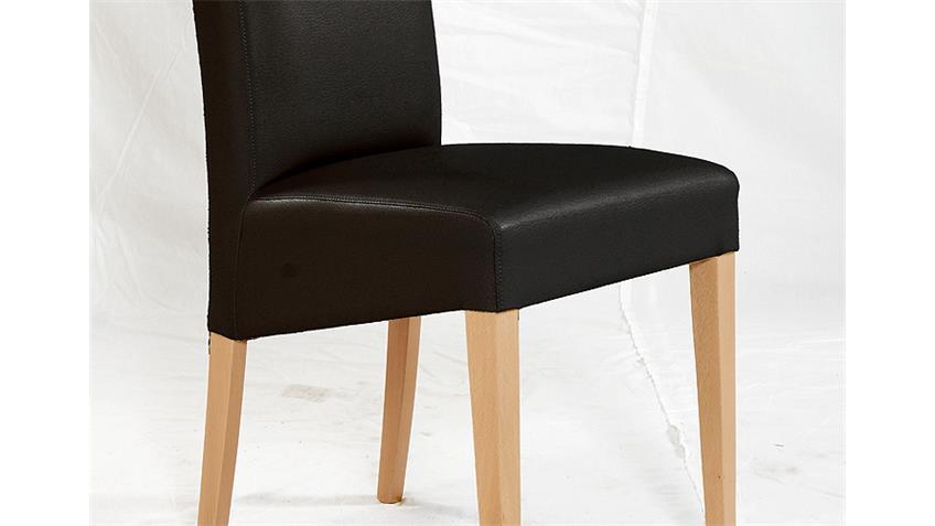 Stuhl RUDI Esszimmerstuhl Polsterstuhl in schwarz und Buche