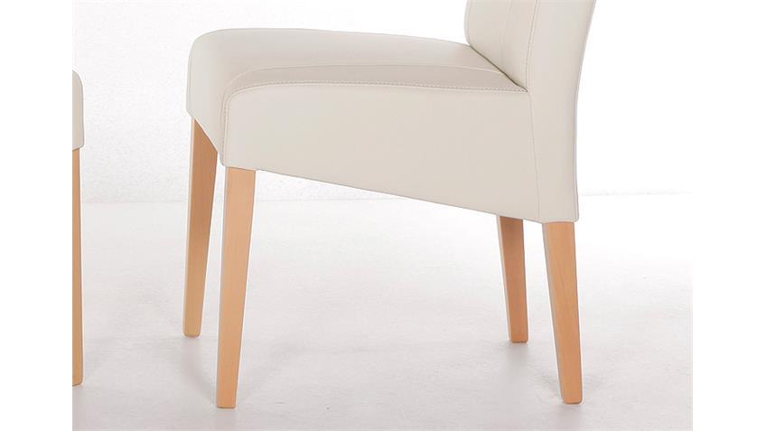 Stuhl LEON Polsterstuhl in creme und Buche natur