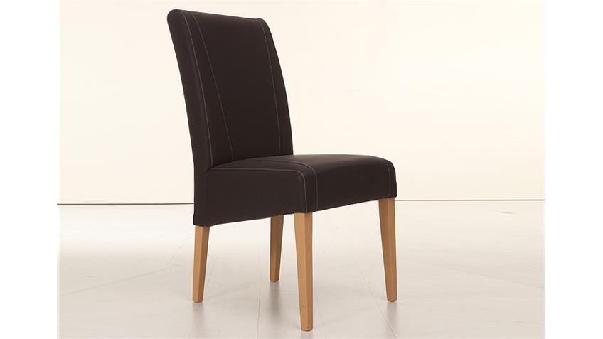 Stuhl LEON Polsterstuhl in braun und Buche natur