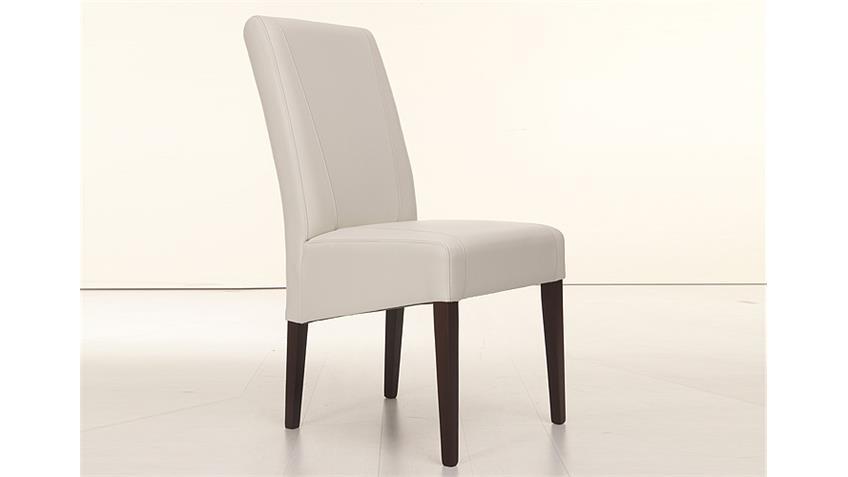 Stuhl LEON Polsterstuhl in creme und Buche Kolonial