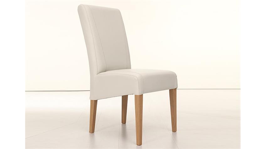 Stuhl LEON Polsterstuhl in creme und Eiche natur