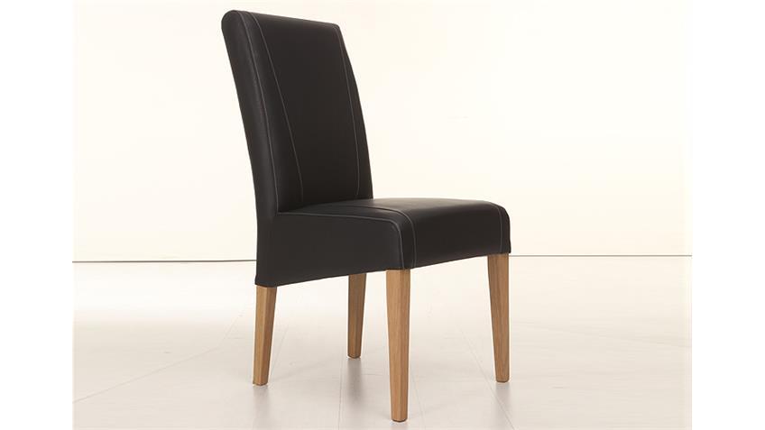 Stuhl LEON Polsterstuhl in schwarz und Eiche natur