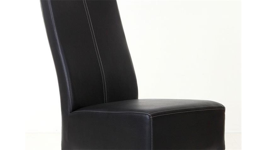 Stuhl TONY Polsterstuhl Esszimmerstuhl in schwarz und Eiche