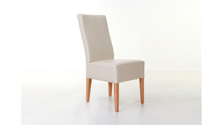 Stuhl TONY Polsterstuhl Esszimmerstuhl in Beige und Buche