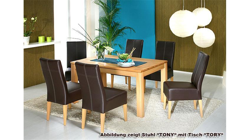 Stuhl TONY Polsterstuhl Esszimmerstuhl in Braun und Buche