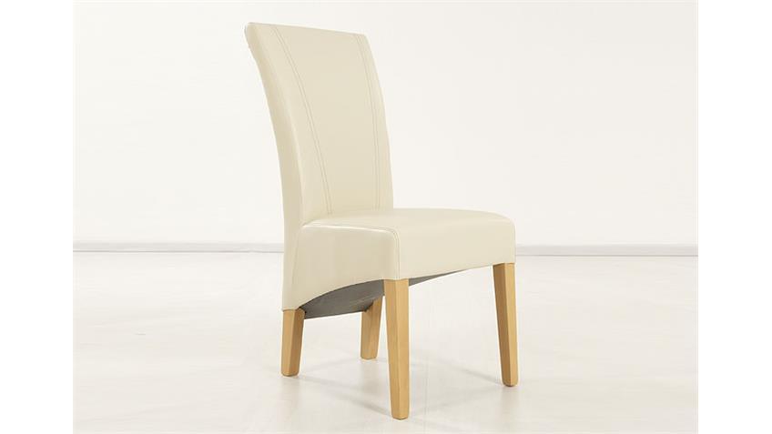 Stuhl MAGA Polsterstuhl Esszimmerstuhl in Beige und Buche