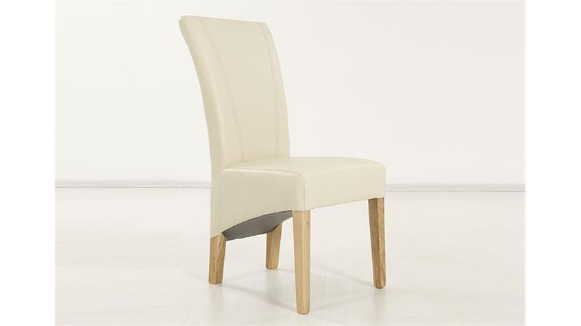 Stuhl MAGA Polsterstuhl Esszimmerstuhl in Beige und Eiche