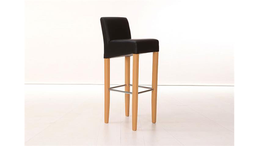 Barstuhl UNOS Polsterstuhl Stuhl in schwarz Buche und Chrom