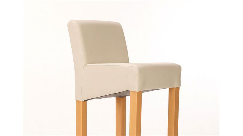 Barstuhl UNOS Polsterstuhl Stuhl in beige Buche und Chrom