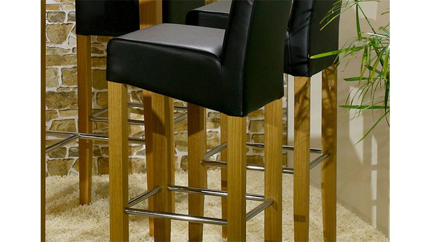 Barstuhl UNOS Polsterstuhl Stuhl in schwarz Eiche und Chrom
