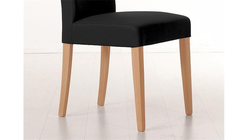 Stuhl SAM 1 Polsterstuhl in schwarz und Buche natur