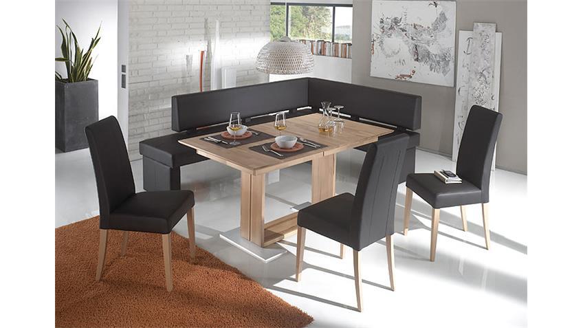 Tischgruppe DOMINO 1 fango dunkelgrau Kernbuche lackiert